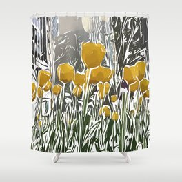 Yellow Tulip in the City Pop Art Shower Curtain