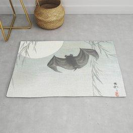 Flying Bat and Full Moon - Vintage Japanese Woodblock Print Art Rug