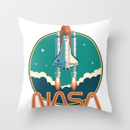 NASA Retro Space Shuttle Logo Throw Pillow