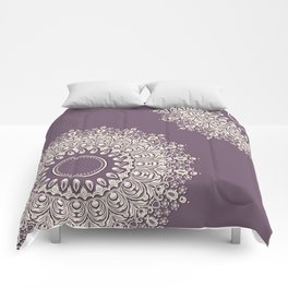 Asymmetric Mandalas on Mulberry Background Comforters