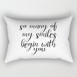 So Many Of My Smiles Begin With You, Smile, Smile Print, Nursery Print, Gift Idea, Art Rectangular Pillow