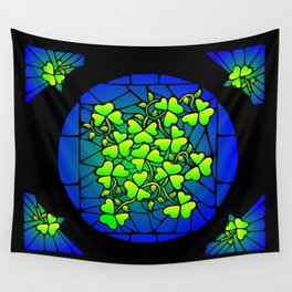 Stained Glass Shamrocks Wall Tapestry