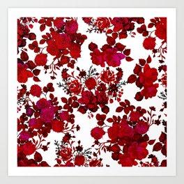 Botanical romantic red black elegant roses floral Art Print