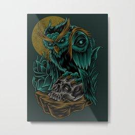 Green Owl Skull Metal Print