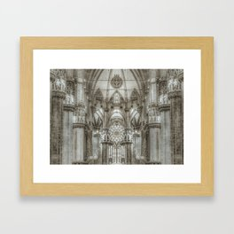 Black and White Milan Duomo Cathedral Interior View Framed Art Print