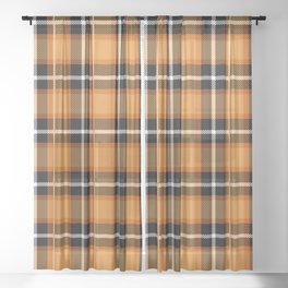 Orange + Black Plaid Sheer Curtain