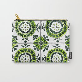 Green and White Circular Portuguese Tile Carry-All Pouch
