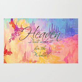 HEAVEN Don't Miss It for the World, Happy Watercolor Pastel Colorful Typography Christian Painting Rug