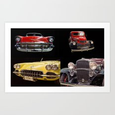 Chevy Collage of Classic Cars Art Print