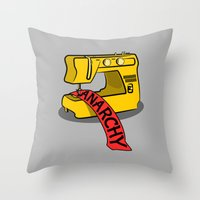 sewing Throw Pillows featuring Anarchy Sewing Machine by mailboxdisco
