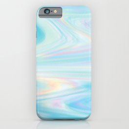 Blue Holograph Glitch Waves iPhone Case