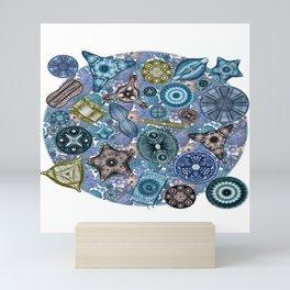 Ernst Haeckel Ocean Diatoms Over Blue Sea Squirts Mini Art Print