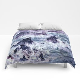 Monet : Storm At Belle Ile Comforters