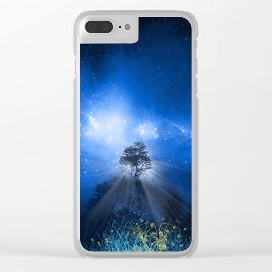 blue night landscape Clear iPhone Case