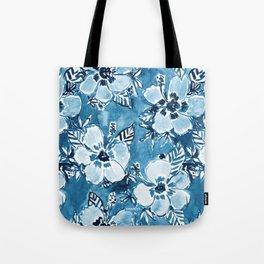 DANK DUDETTE Indigo Hibiscus Watercolor Tote Bag