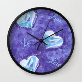 Blue hearts pattern Wall Clock