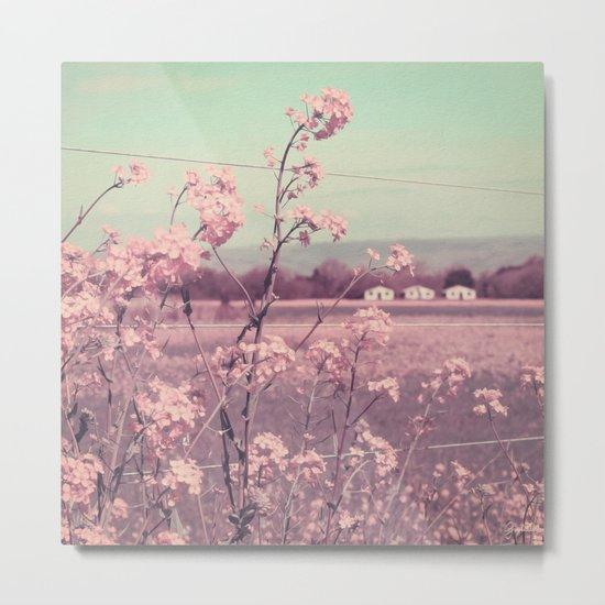 Sweet Spring (Teal Sky, Soft Pink Wildflowers, Rural Cottage) Metal Print