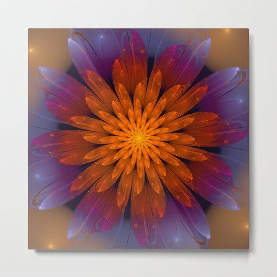 Fiery Fantasy Flower, fractal abstract Metal Print
