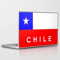 chile Laptop & iPad Skins featuring Chile country flag name text by tony tudor