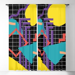 Memphis Pattern - 80s Retro Black Blackout Curtain