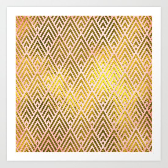 Gold foil triangles on pink - Elegant and luxury triangle pattern Art Print