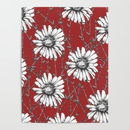 Floral Studies Patter in Red Poster