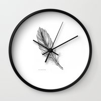 feather Wall Clocks featuring feather by iphigenia myos