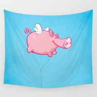 woodstock Wall Tapestries featuring Flying Pig Animal by Nxolab