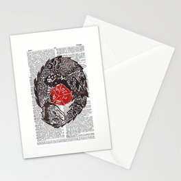 Here Be Dragons  (dragon and d20 dice on dictionary page) Stationery Cards