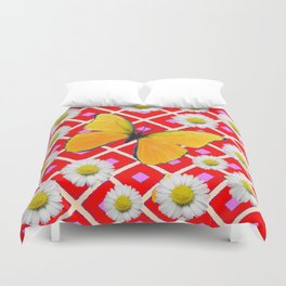 Red Color Shasta Daisys & yellow butterfly Pattern Garden Art Duvet Cover