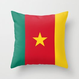 Green Red and Gold Flag of Cameroon with Star Throw Pillow