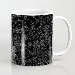 Clockwork B&W inverted / Cogs and clockwork parts lineart pattern Coffee Mug
