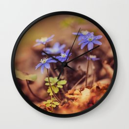 Magic garden with blue liverworts Wall Clock