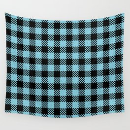 Light Sky Blue  Bison Plaid Wall Tapestry
