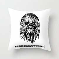 chewbacca Throw Pillows featuring Chewbacca by C Liza B