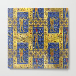 Egyptian  Gold  symbols on Lapis Lazuli Metal Print