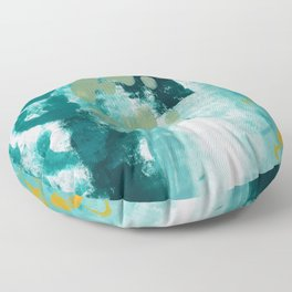 023: a vibrant abstract design in teal green and yellow by Alyssa Hamilton Art  Floor Pillow