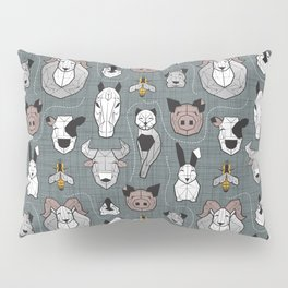 Friendly Geometric Farm Animals // green grey linen texture background black and white brown grey and yellow pigs queen bees lambs cows bulls dogs cats horses chickens and bunnies Pillow Sham