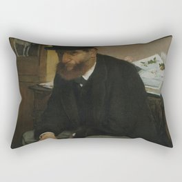 Edgar Degas - The Collector of Prints (1866) Rectangular Pillow
