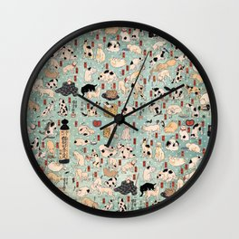 Ukiyo-e Cats by Utagawa Kuniyoshi (1798-1861) Wall Clock