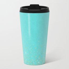 Sparkling gold glitter confetti on aqua teal damask background Travel Mug