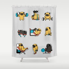 Leg Day with The Pug Shower Curtain