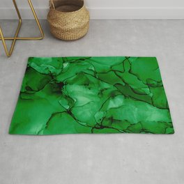 Deep Green Abstract: Original Alcohol Ink Painting Rug