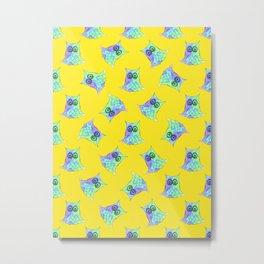 Topsy Turvy Owls Yellow Metal Print