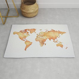 Brown World Map Rug