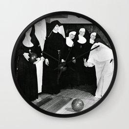 Nuns Bowling Wall Clock