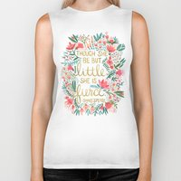 designer Biker Tanks featuring Little & Fierce on Charcoal by Cat Coquillette