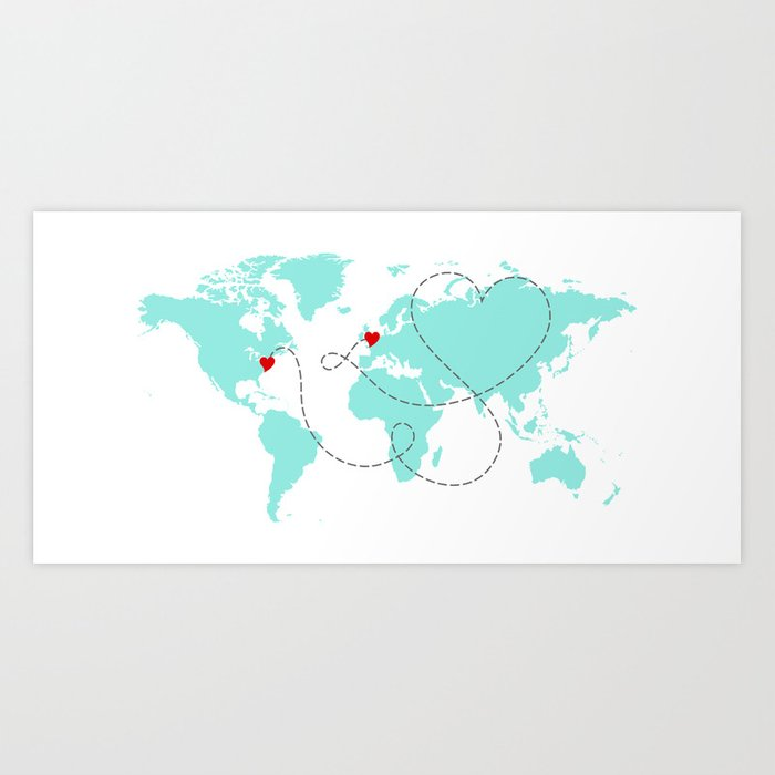 World map in light blue usa to europe new york to london art world map in light blue usa to europe new york to london art print sciox Choice Image