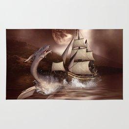 Awesome seadragon with ship Rug