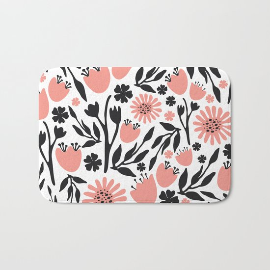 Floral Pattern Dark Gray and Light Coral Bath Mat